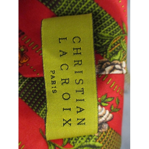 80 - A Christian Lacroix red ground gents tie with rose design, horse racing design ties and others to in...
