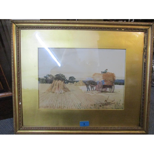 9 - W T Dewint- A framed and glazed watercolour depicting a harvest scene with horse and cart A/F, signe...