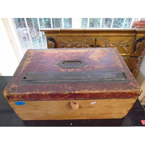 94 - A Victorian, John Pound 'Public Work Department' postal box in a red leather (lock, front and side m...