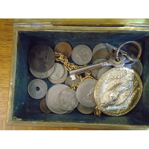 95 - A Victorian walnut box containing coins, books, Manual of Elementary Field Engineering 1877 Location...
