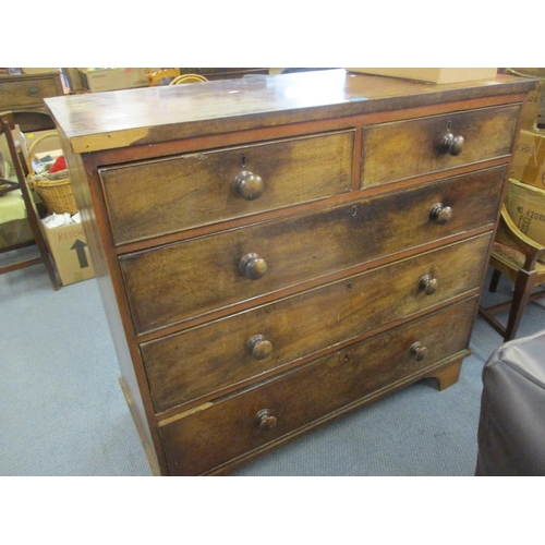 99 - A 19th century mahogany five drawer chest, on bracket feet, 102 h x 109cm w Location: BR...