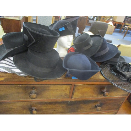 302 - A John B Stetson black beaver Stetson size 56, together with traditional Spanish hats and ladies hat...