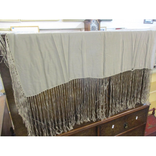 305 - Two vintage silk table/piano shawls with long fringed edges, one in a taupe silk A/F 95cm x 95cm, an...