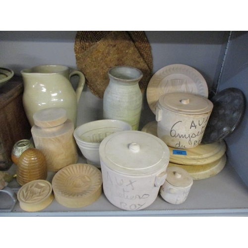 308 - A vintage pine box, mixed pottery and kitchen items to include shortbread moulds and others Location...