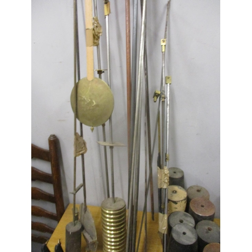 330 - Mainly electric/Synchronome clock parts to include weights, movements and pendulums Location: Val...