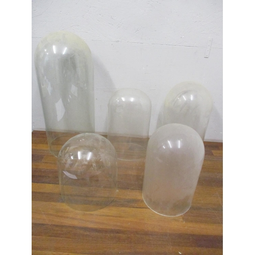 335 - Vintage glass clock domes, 22-48cm high, no cracks, minor chips to rims Location: G...