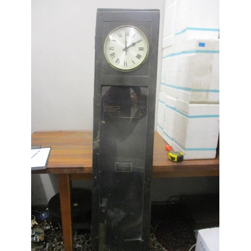 338 - A Magneta electric master clock with movements and pendulum in an oak case, 160cm high Location: G...