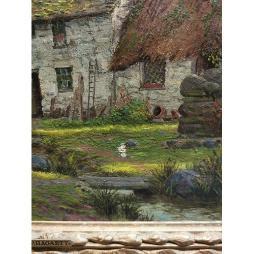 142 - Parker Hagarty RCA (1859-1934) British depicting a farmstead scene with a man carrying wood, a cotta...