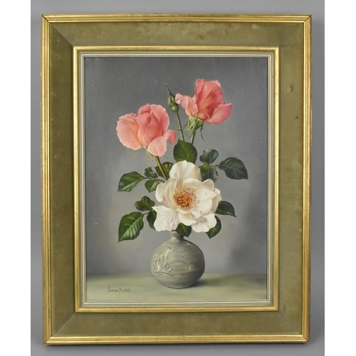 181 - James Noble (1919-1989) British 'Aureana and Innocence', still life painting of roses in a vase, sig...