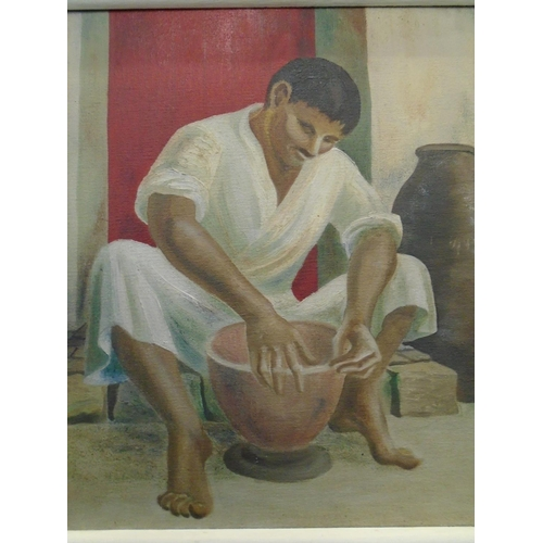 45 - D S Rogers - a mid-century study of an Indian potter seated in front of a building with a red door s...