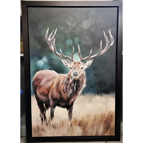 100 - Debbie Boon, contemporary artist, British 'The Duke', original painting depicting a stag, oil on can...