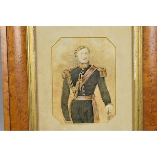 107 - A Victorian watercolour portrait of a Royal Horse guard in uniform, within a glazed birds eye maple ...