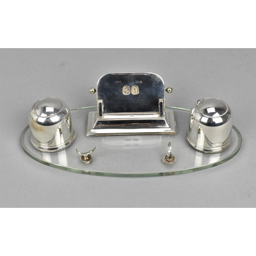 111 - A George V silver mounted desk stand by Wilmot Manufacturing Co, Birmingham 1925, comprising a centr...