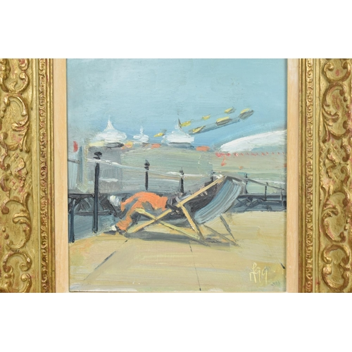 123 - Mark Pearson (b.1956) British depicting someone in a deck chair on a pier, signed and dated '99' low...