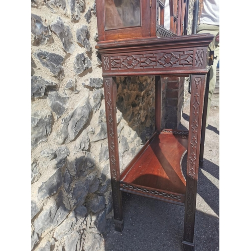 126 - A 19th century Chippendale style vitrine cabinet retailed by Edwards & Roberts, with astragal glazed...