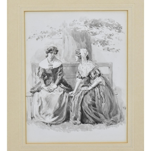 136 - Frank Stephen Dadd (1851-1929) British depicting two ladies on an outdoor bench, monochrome watercol...