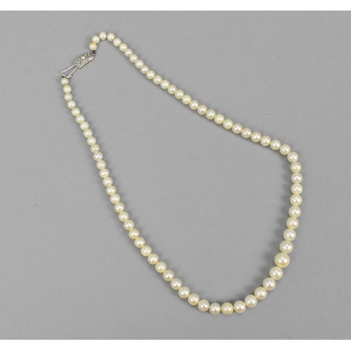 145 - A graduated single strand pearl necklace with Art Deco style 18ct gold clasp, 46 cm long