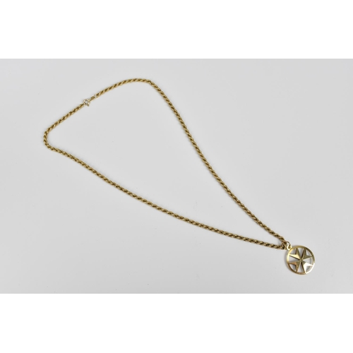151 - A 9ct gold rope twist chain and pendant, chain marked 375, chain 51 cm long, 7 grams