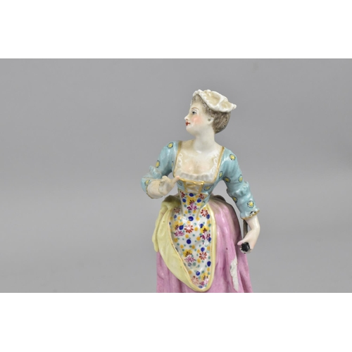 161 - Two early 19th century Royal Crown Derby figures, one modelled as an allegorical figure with crown a...