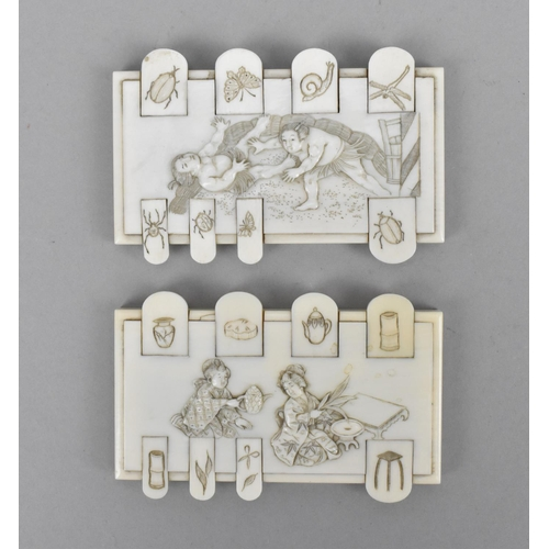 19 - A pair of Japanese late Meiji period ivory bezique markers, one carved with two geishas preparing te...