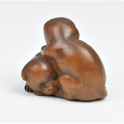 25 - A Japanese carved wood netsuke, 19th century, modelled as two puppies, unsigned, 3 cm high x 3.5 cm ...