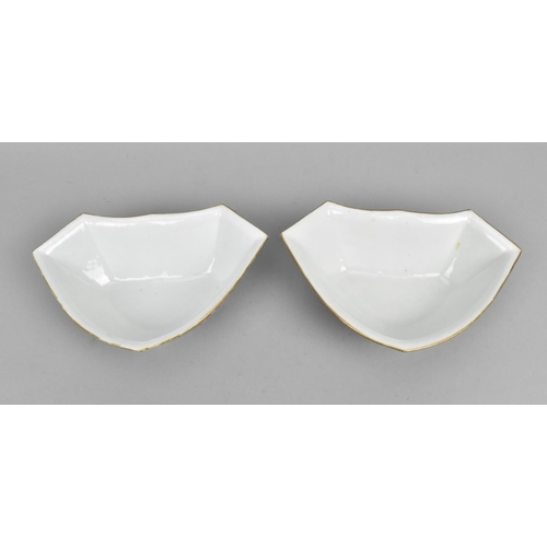 33 - A pair of Chinese Daoguang period shaped dishes, each with gilt rim and red iron foliate scrolls thr...