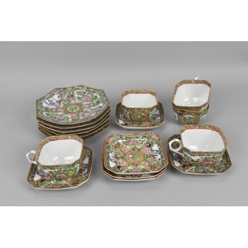39 - A Cantonese famille rose porcelain part tea service, comprising three teacups, six saucers, and six ...
