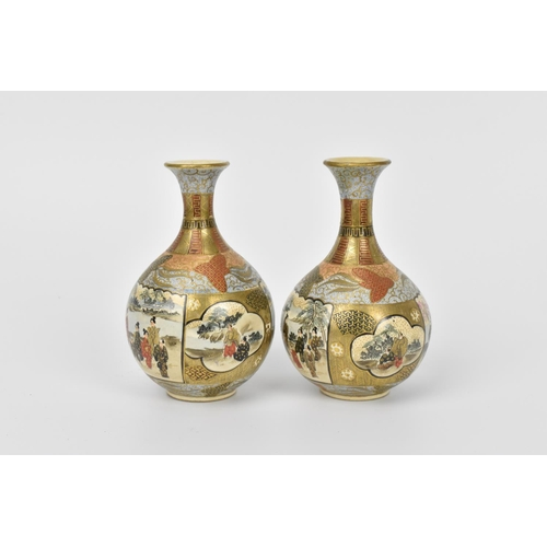 11 - A pair of Japanese miniature Satsuma porcelain vases, late Meiji/Taisho period, of globular form wit...