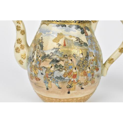 12 - A Japanese Satsuma porcelain teapot, Meiji/Taisho period, together with a pierced lidded twin handle...