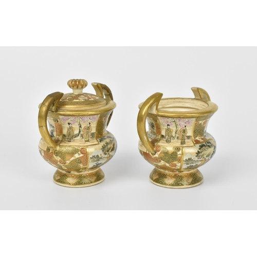 13 - A pair of Japanese Satsuma porcelain koro incense burners, Meiji period, each intricately designed w...