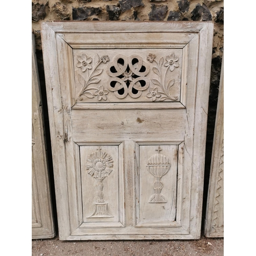 183 - A set of three Victorian carved and moulded doors, two with dates to the front, one 1848, the other ...