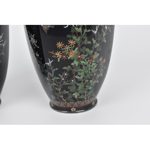20 - A pair of Japanese silver mounted cloisonne vases, late Meiji/early Taisho period, of hexagonal shap...