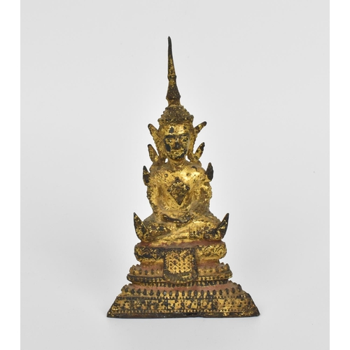 22 - A gilt Thai bronze model of Buddha, Rattanakosin period, 19th century, seated in dhyana mudra, with ...