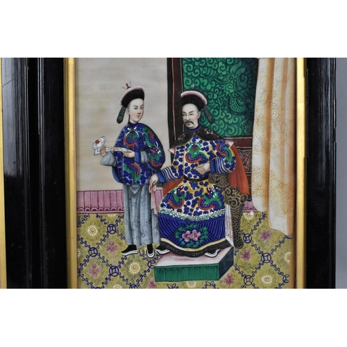 46 - Two Chinese late 19th century/early 20th century rice paper paintings, depicting an emperor with att...