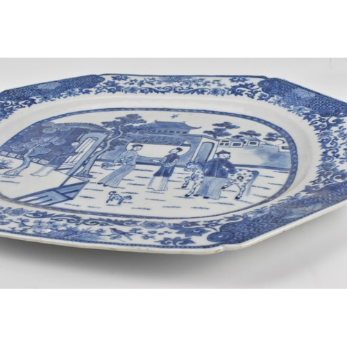 5 - A Chinese export blue and white porcelain meat dish, Qianlong period, of octagonal form with central...