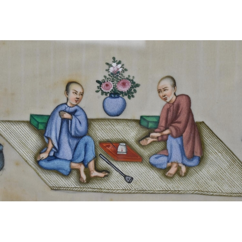 50 - Two Chinese late Qing dynasty rice paper paintings, both depicting men at leisure, drinking tea and ...