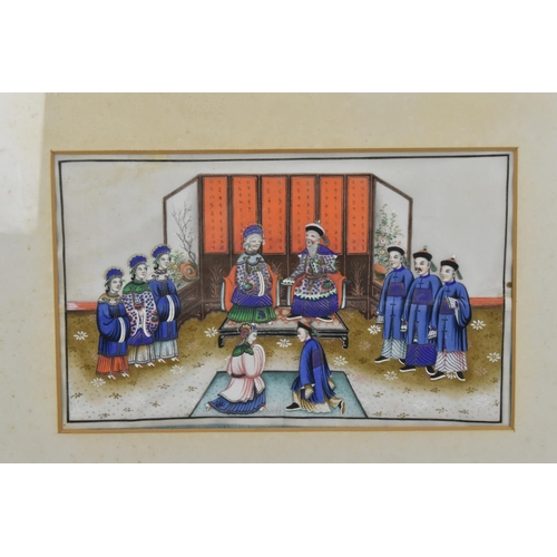 51 - Two Chinese late Qing dynasty rice paper paintings, each depicting Emperor and Empress on their resp...