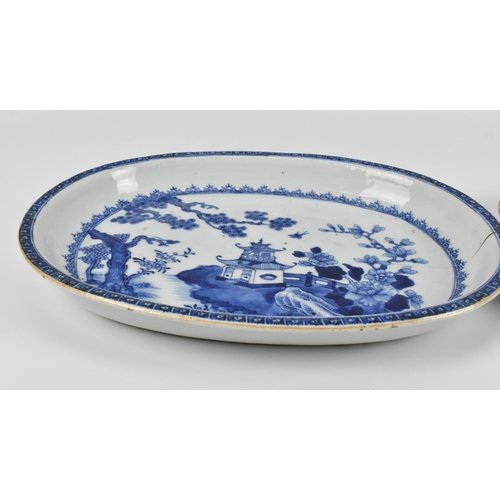 66 - Two Chinese 19th century Qing dynasty blue and white porcelain dishes, with central pavilion and pin...