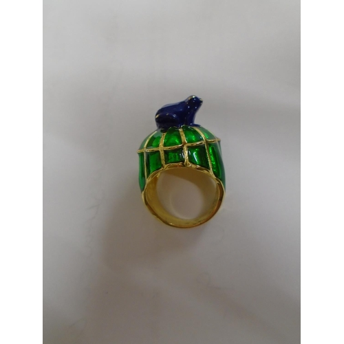 32 - A gilt metal blue and green enamelled frog dress ring, UK ring size L, together with an Art Deco sty...
