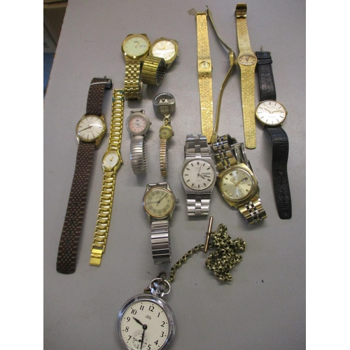 21 - A collection of 20th century watches to include a gent's Roamer, a gent's Mu Du and gold plated ladi...