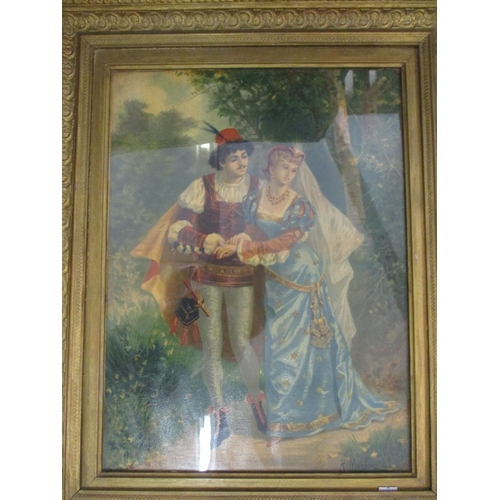 28 - A pair of framed oleographs of courting couples, mixed prints, a gold coloured mirror, a Comic Herit...