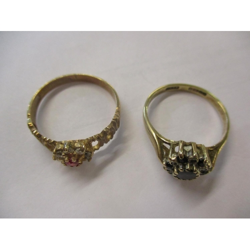 3 - Two 9ct gold rings stamped 375 comprising a ruby and white sapphire flower ring size T, total weight...
