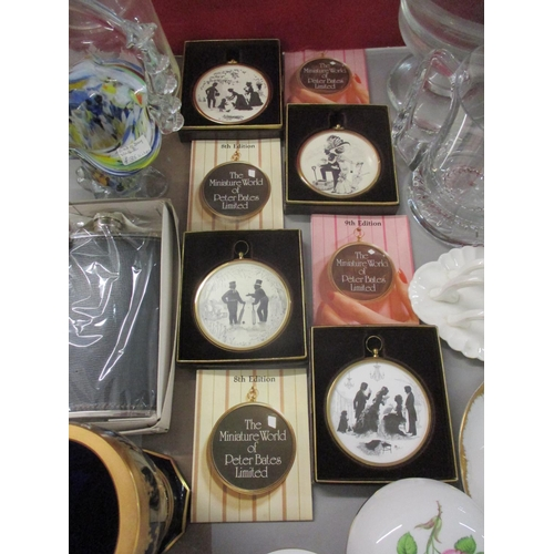 30 - Four Peter Bates Ltd 8th and 9th edition miniatures, late 19th century ceramics and a blue Venetian ...