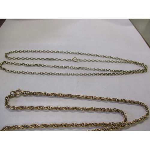 5 - A 9ct gold rope link necklace 10.5g, together with a gold open link necklace 6.7g and a 9ct gold bra...