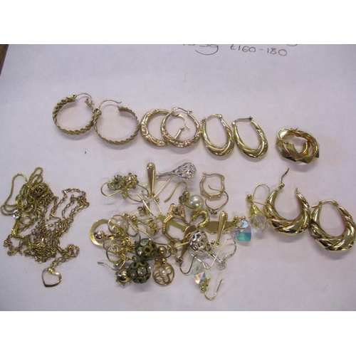 7 - Two 9ct gold chains stamped 375, together with five pairs of 9ct gold hoop earrings stamped 375, and...