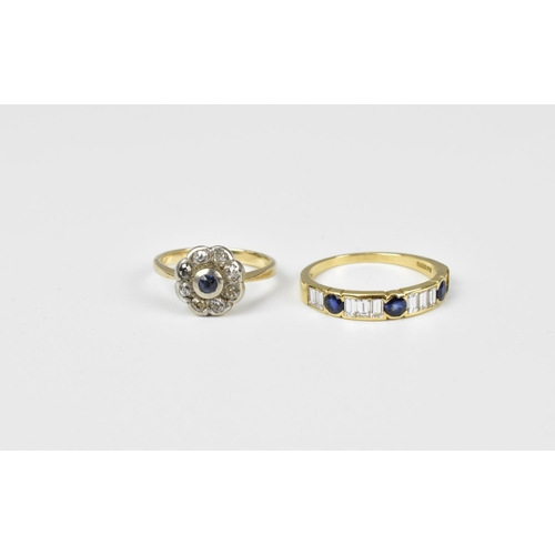 18 - An 18ct gold, diamond and sapphire half eternity ring, size O, together with a diamond and sapphire ...