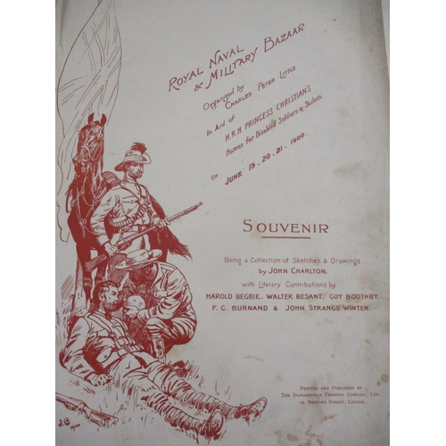 33 - A June 1900 Royal Naval and Military Bazaar souvenir of sketches and drawings by John Charlton, A/F ...