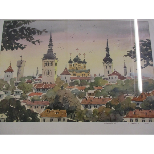 17 - Twentieth century Russian school - a view of a town, a watercolour signed indistinctly and dated 199...