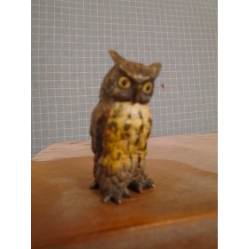 37 - An Austrian cold painted bronze model of a short eared owl, 4cm high Location: Cab...