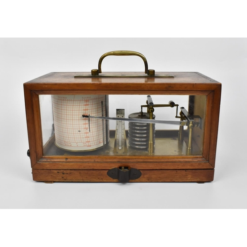 98 - An early 20th century oak cased French barograph, with brass cylinder and eight tier vacuum, stamped...